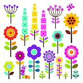 Vector collection of isolated flowers in spring colors