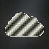 Cloud technology concept: Cloud on chalkboard background