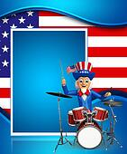 Uncle Sam with drum set