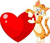 Cat holding heart valentine