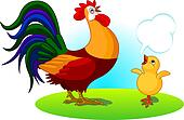 Father Rooster and Baby Chick