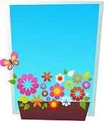 Window-shaped blue card template