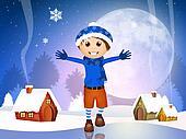 happy child in winter landscape