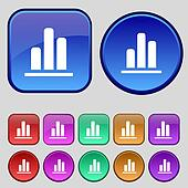 Growth and development concept. graph of Rate icon sign. A set of twelve vintage buttons for your design.