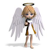 cute cartoon angel with wings and halo. 3D rendering with clipping path and shadow over white
