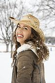 Woman in cowboy hat.