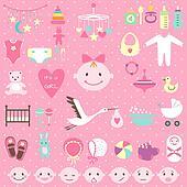 Baby shower set for girl
