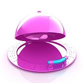 restaurant cloche with open lid
