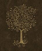 Curlicue Tree on a Textured Background