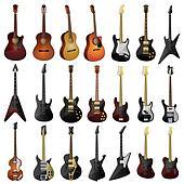 Set of isolated guitars.