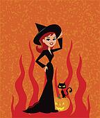 Illustration of Witch and black cat