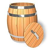 Opened wooden barrel