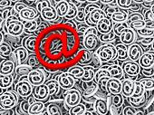 3d important message email symbol at sign