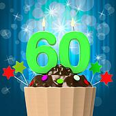 Sixty Candle On Cupcake Means Sixtieth Birthday Anniversary