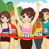 Female Athlete Runner Winning