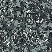 seamless background with monochrome black and white flowers.