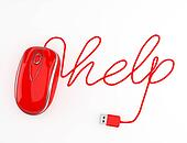 Computer help, red mouse.
