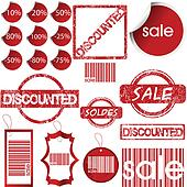 Set of red labels, tags, stamps and stickers