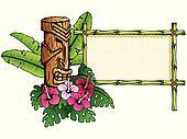 Detailed hawaiian banner with tiki