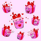 Set of pretty pink gift boxes cartoons with different expression