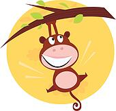 Brown cute monkey hanging from tree