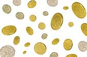 coins falling white background