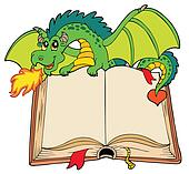 Green dragon holding old book