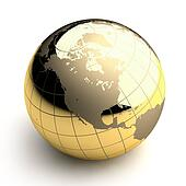 Golden Globe on white background