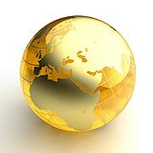 Amber globe with golden continents on white background