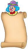 Cartoon clown holding old scroll