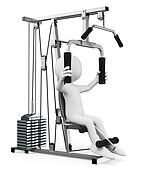 3D white people. Man exercising in a weight machine