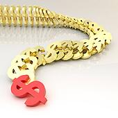 Dollar symbols falling in domino effect