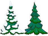The cartoon illustration of a spruce tree