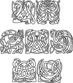Celtic mythological animals and birds silhouettes
