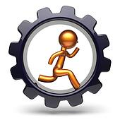 Running man character hard work inside gearwheel icon