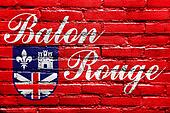 Flag of Baton Rouge, Louisiana, painted on brick wall
