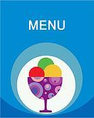 colorful tasty ice-cream and milk shake menu template
