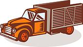 Vintage delivery pick-up truck done in retro woodcut style.