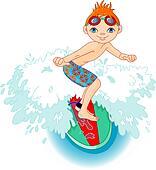 Surfer boy in Action