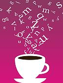 Cup of coffee with letters