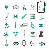 Image of various medical related teal icons.
