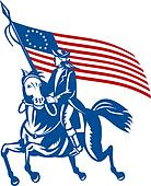 American revolutionary general a riding horse with Betsy Ross Flag
