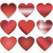 shiny red vector hearts