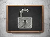 Information concept: Opened Padlock on chalkboard background