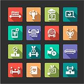 flat fitness and health icons set