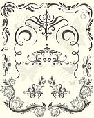 Set of  ornaments damask . Floral elements, borders, corners for design.