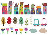 Craft set. Houses, trees,flowers