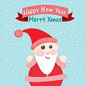 Funny Christmas postcard with Santa Claus. Vector illustration