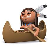 3d Native American Indian boy paddles his canoe