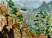 watercolor huangshan sketch